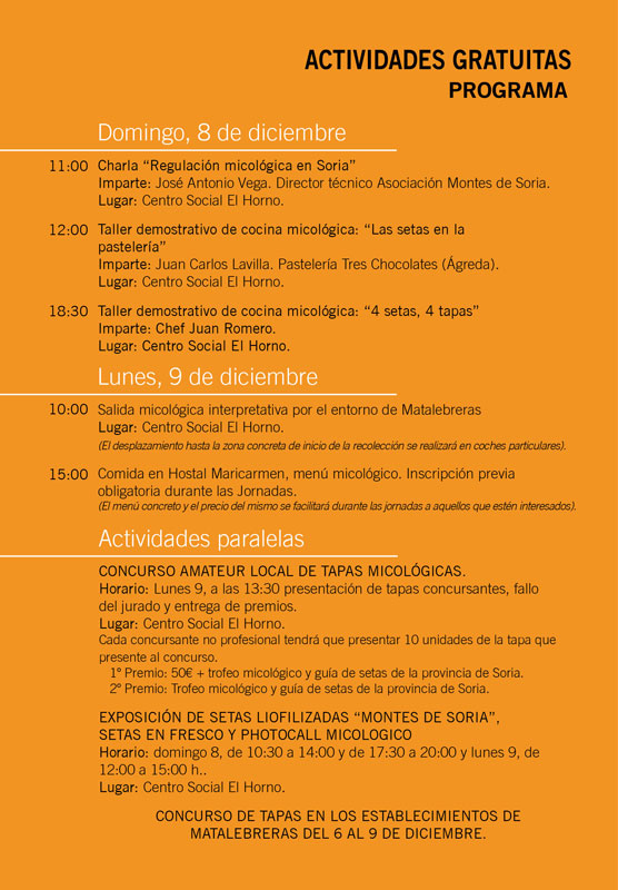 Jornadas Micológicas Matalebreras 2019 programa web