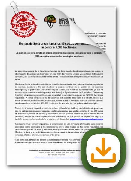 Montes de Soria crece hasta los 85 socios nota de prensa