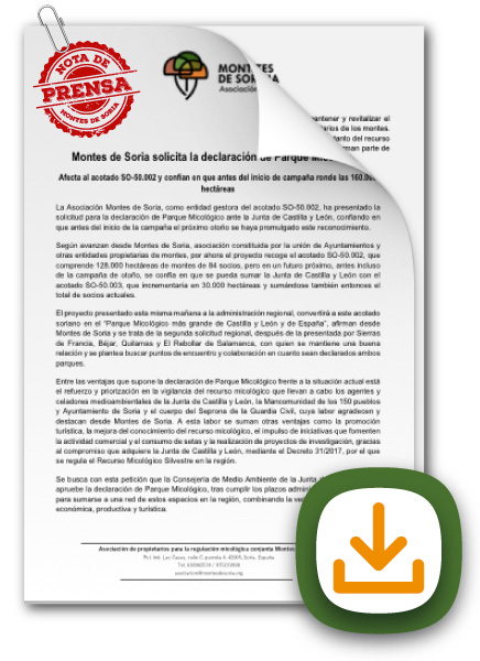 Solicitud Parque Micológico de Soria nota de prensa